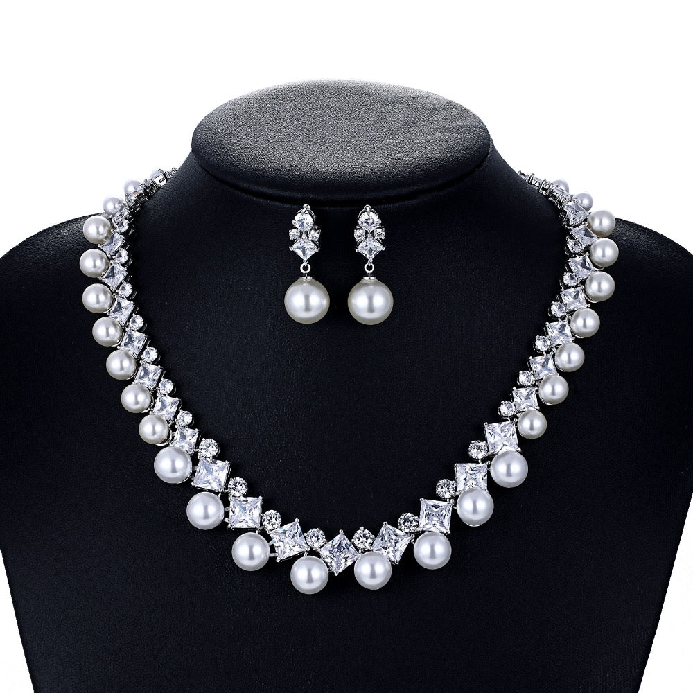 Cubic zirconia bride wedding necklace earring set top quality  CN10130 - sepbridals
