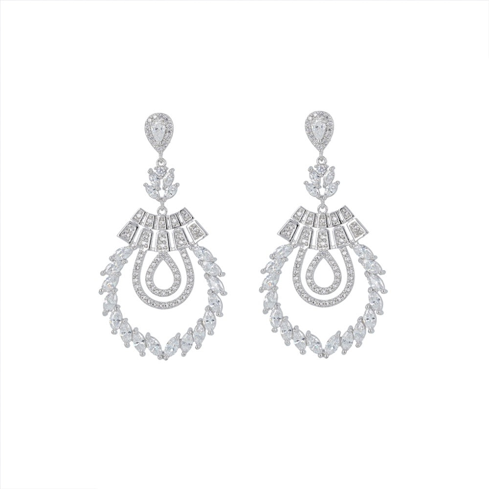Full CZ Cubic Zirconia Branch Dangle Bridal Wedding Earring CE10191 - sepbridals