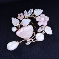 Elegant Hot Cubic Zircon Natural Shell Butterfly Brooch R04755 - sepbridals