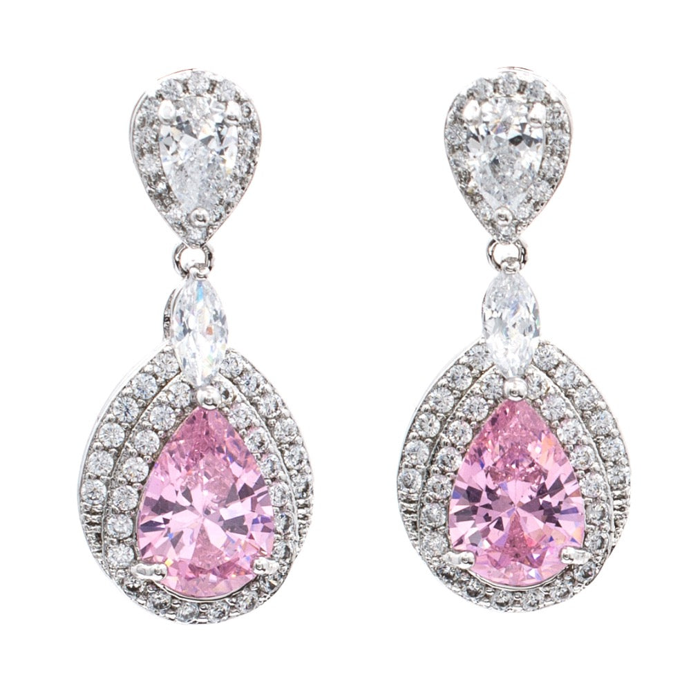 Cubic Zirconia Teardrop   Dangle Earrings Bridal Wedding Jewelry GT8063 - sepbridals