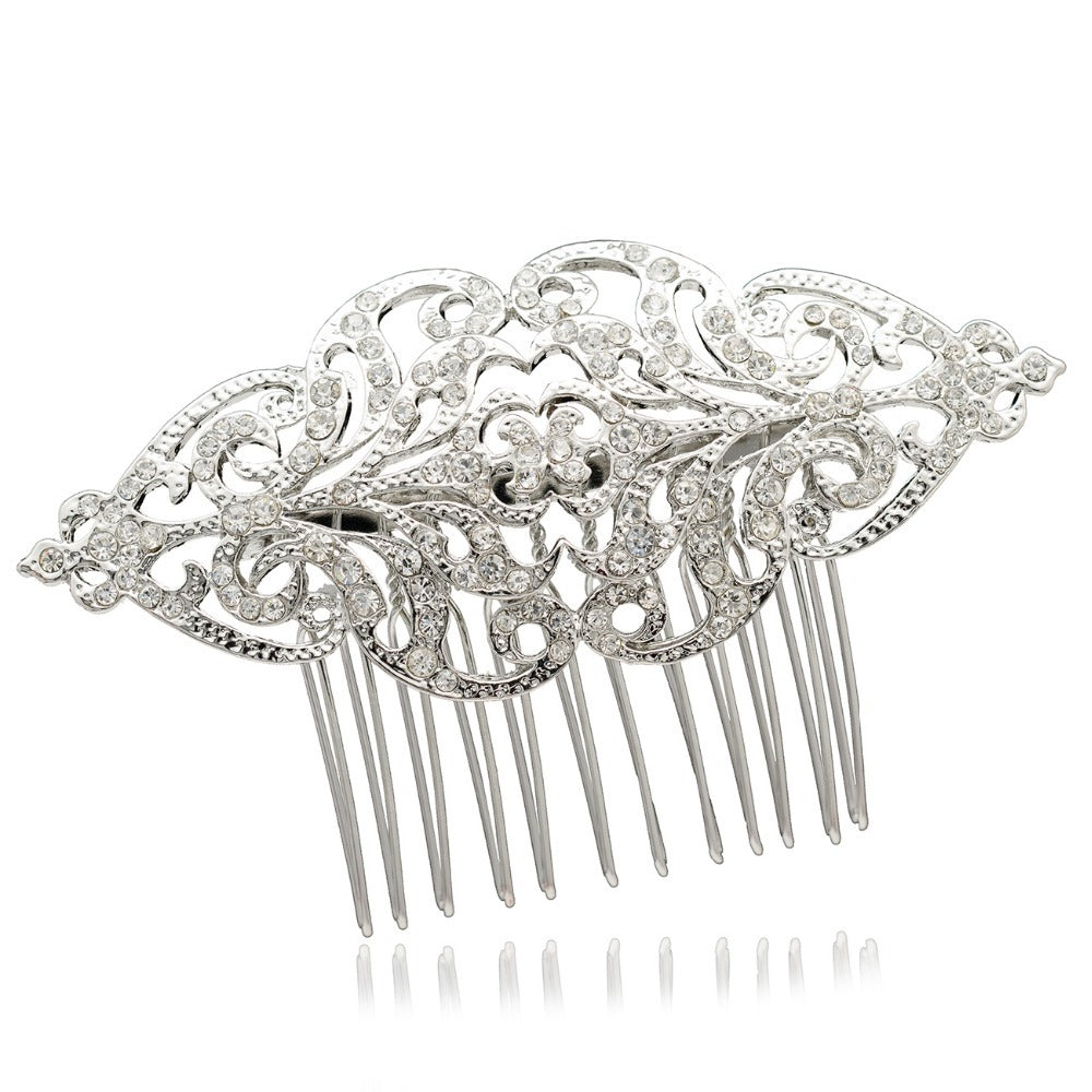 Rhinestone Crystals  Plated Wedding Bridal Flower Hair Combs  COXBY104 - sepbridals