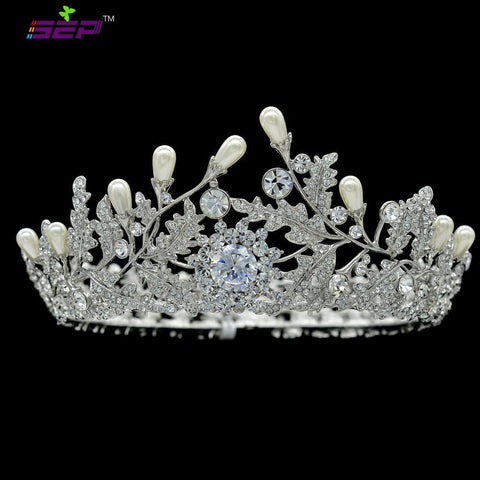 Austrian Crystal CZ Royal Wedding Bridal Full Round Tiara Crown SHA8720 - sepbridals