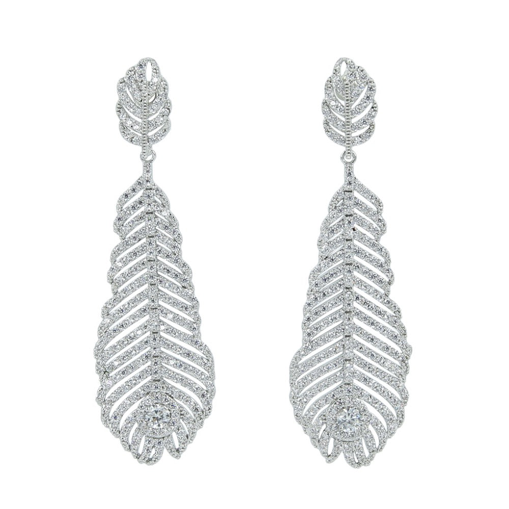 CZ Cubic Zirconia Drop Dangle Bridal Wedding Feather Earring CE10313 - sepbridals