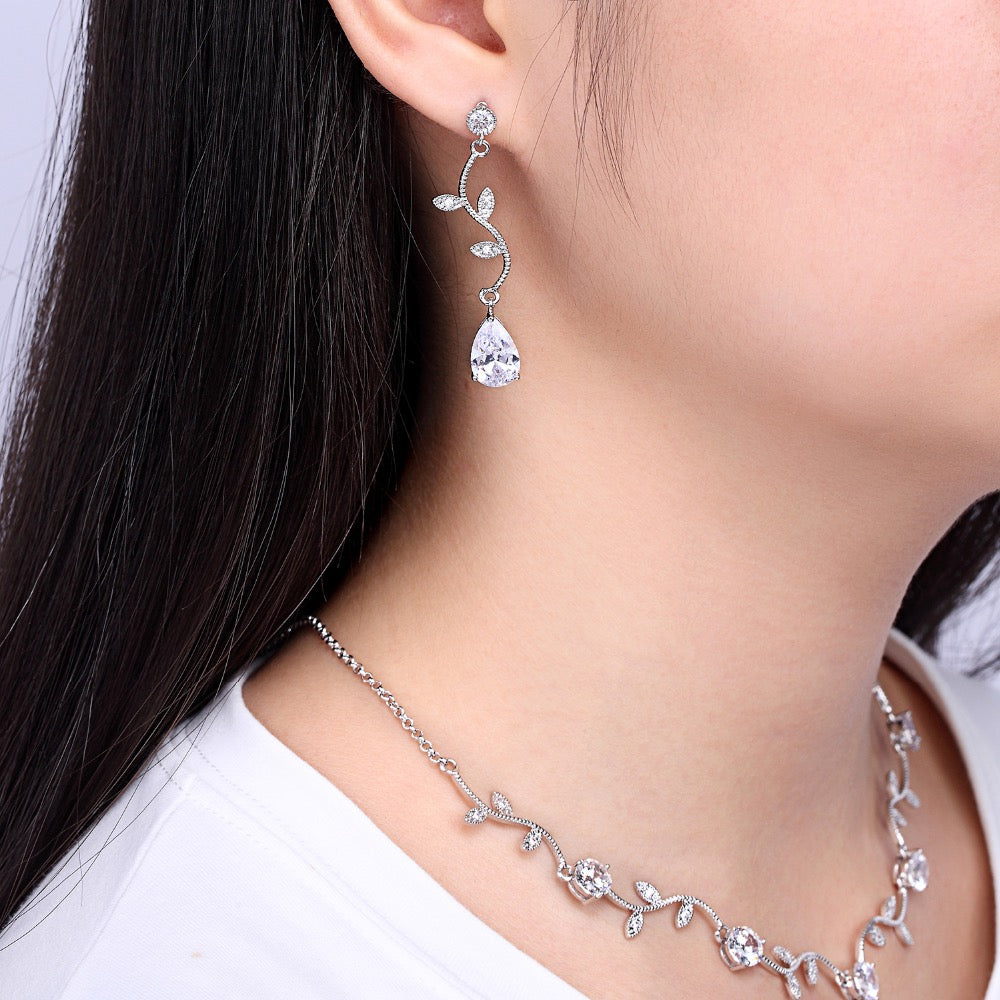 Cubic zirconia bride wedding necklace earring set top quality CN10029 - sepbridals