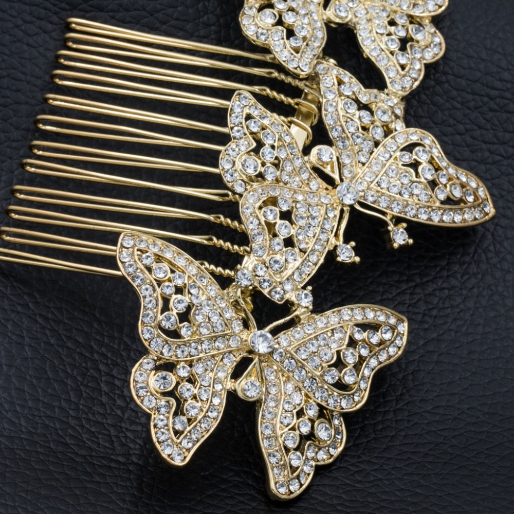 Rhinestone Crystals 3 Butterfly Hairpin Hair Side Combs CO1469R - sepbridals