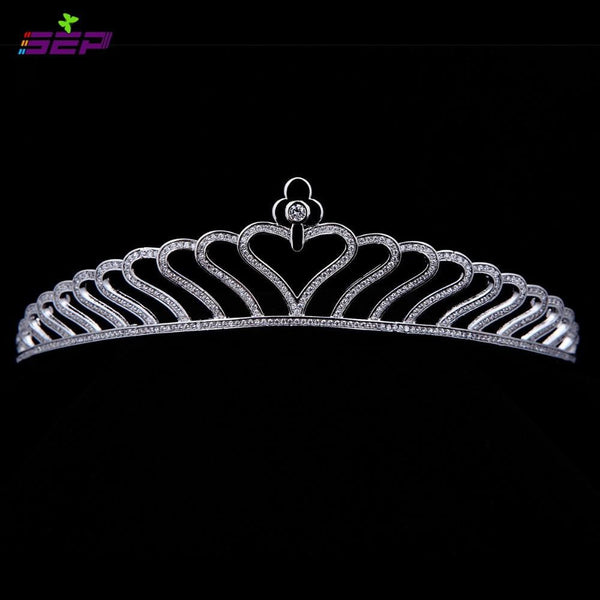 Bridal Wedding Tiara Heart Crown Hair Jewelry Accessories TR15028 - sepbridals