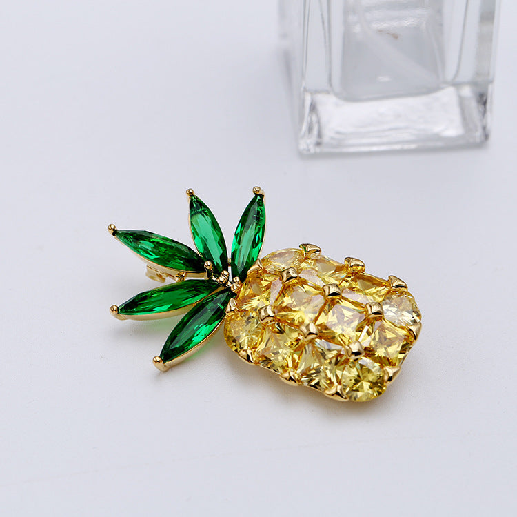 Popular Stunning Yellow CZ Cubic Zirconia Pineapple Brooches 002386 - sepbridals