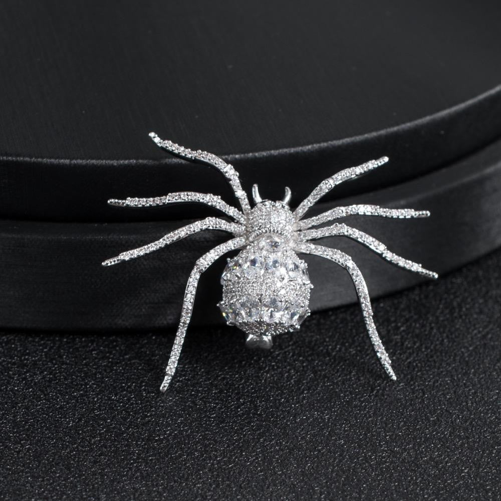 Crystal Cubic Zirconia Silver Spider Brooch Broach Pin  XR04054 - sepbridals