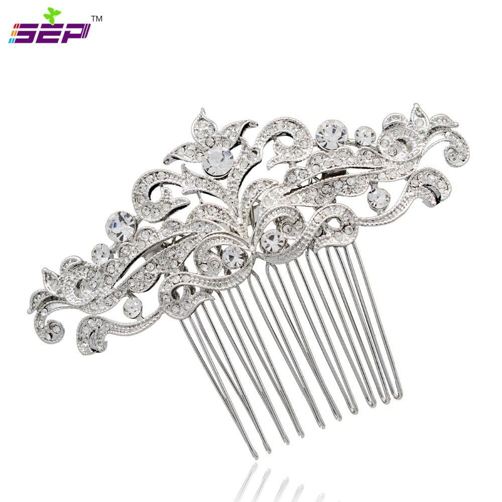 Clear Rhinestone Crystal Flower Bridal Wedding Comb CO1455R - sepbridals