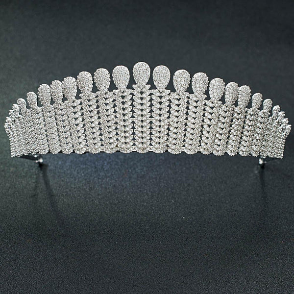 Cubic zirconia wedding bridal tiara diadem hair jewelry S16252 - sepbridals