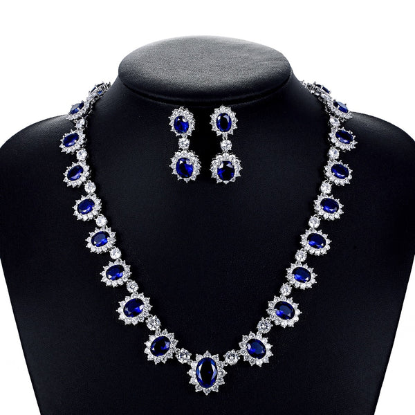 Cubic zirconia bride wedding necklace earring set top quality CN10142 - sepbridals