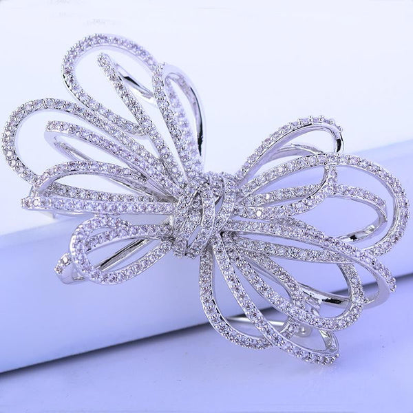 Classic Bowknot Brooch Pin Cubic Zirconia Wedding Clothing Accessories   XR02116F8
