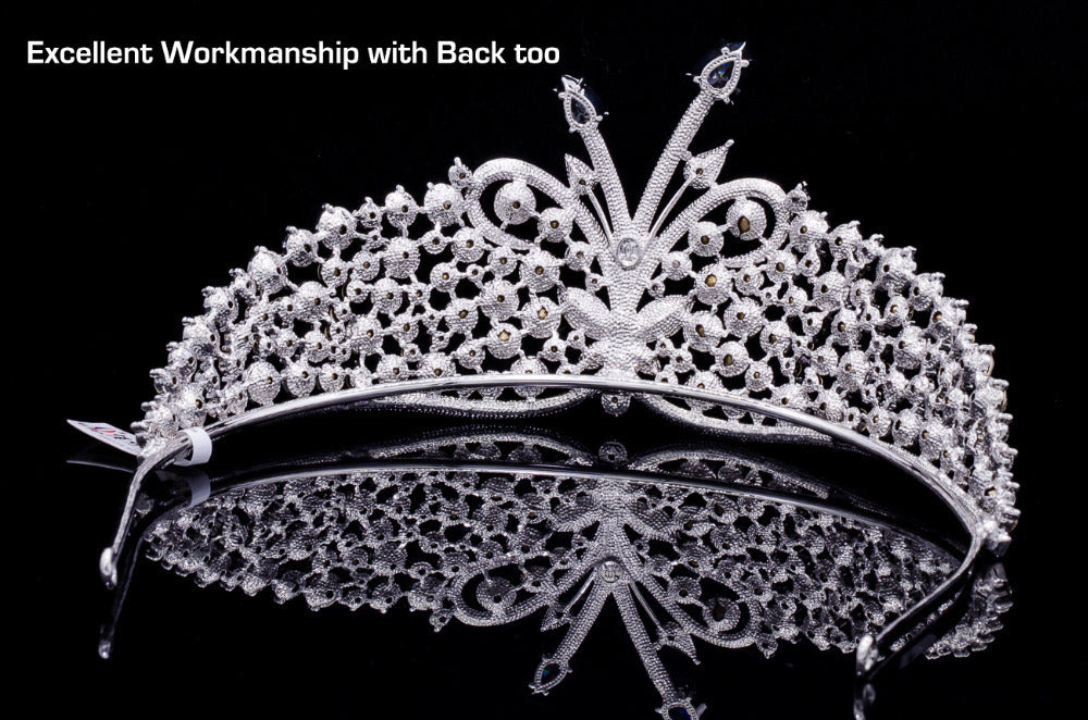 Real Austrian Crystals Drop Cubic Zircon Butterfly Tiara Crown SHA8689 - sepbridals