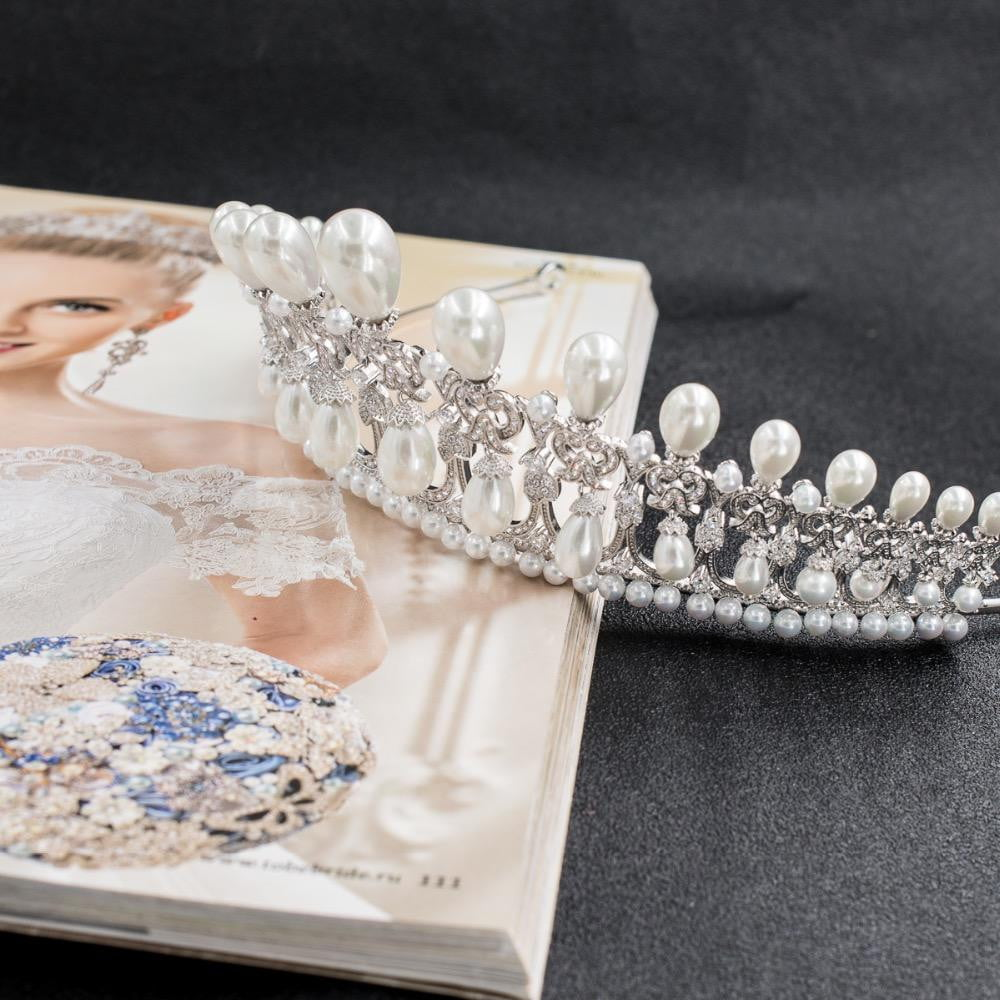 Classiccz cubic zircon dangle pearl wedding bridal tiara  diadem crown CH10090 - sepbridals