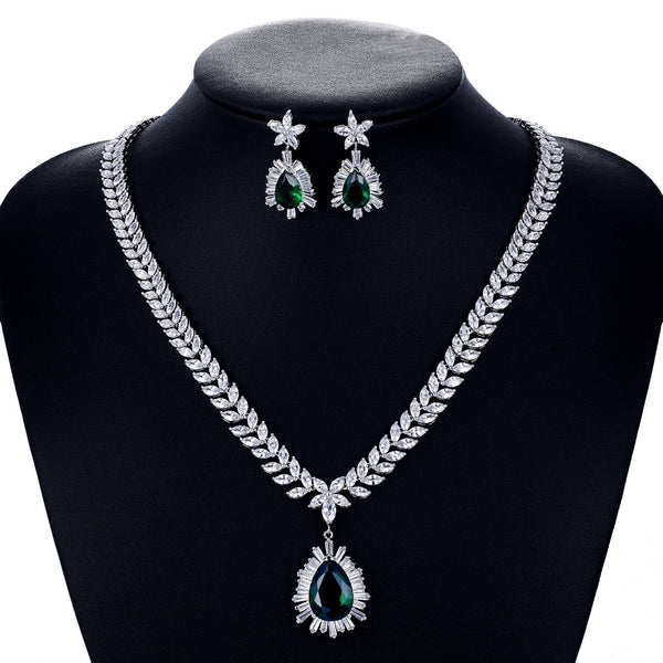 Cubic zirconia bride wedding necklace earring set top quality  CN10048