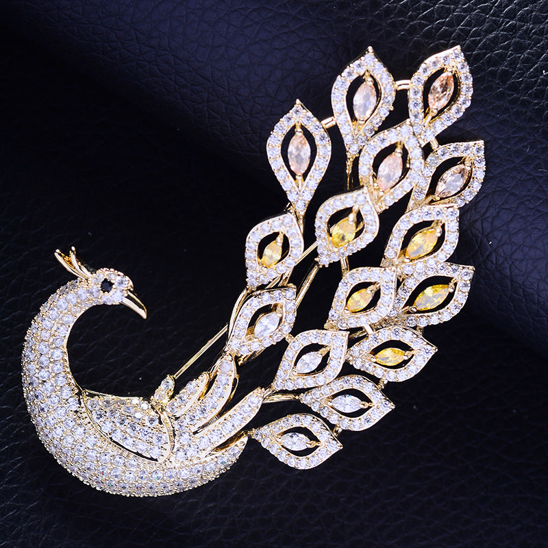 Gorgous Jewelry Accessory Cubic Zircon Animal Peacock Brooch  R04236 - sepbridals
