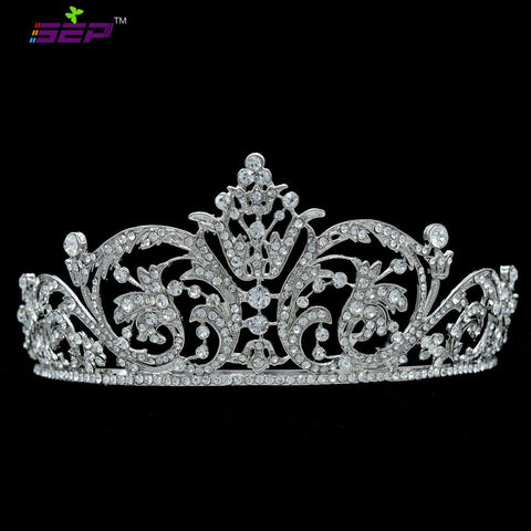 Rhinestone crystals flower tiara crown for bridal wedding hair  XBY158 - sepbridals
