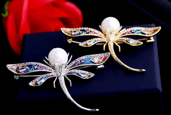 Popular Micro Pave CZ Color drop oil Dragonfly Brooches  01284 - sepbridals