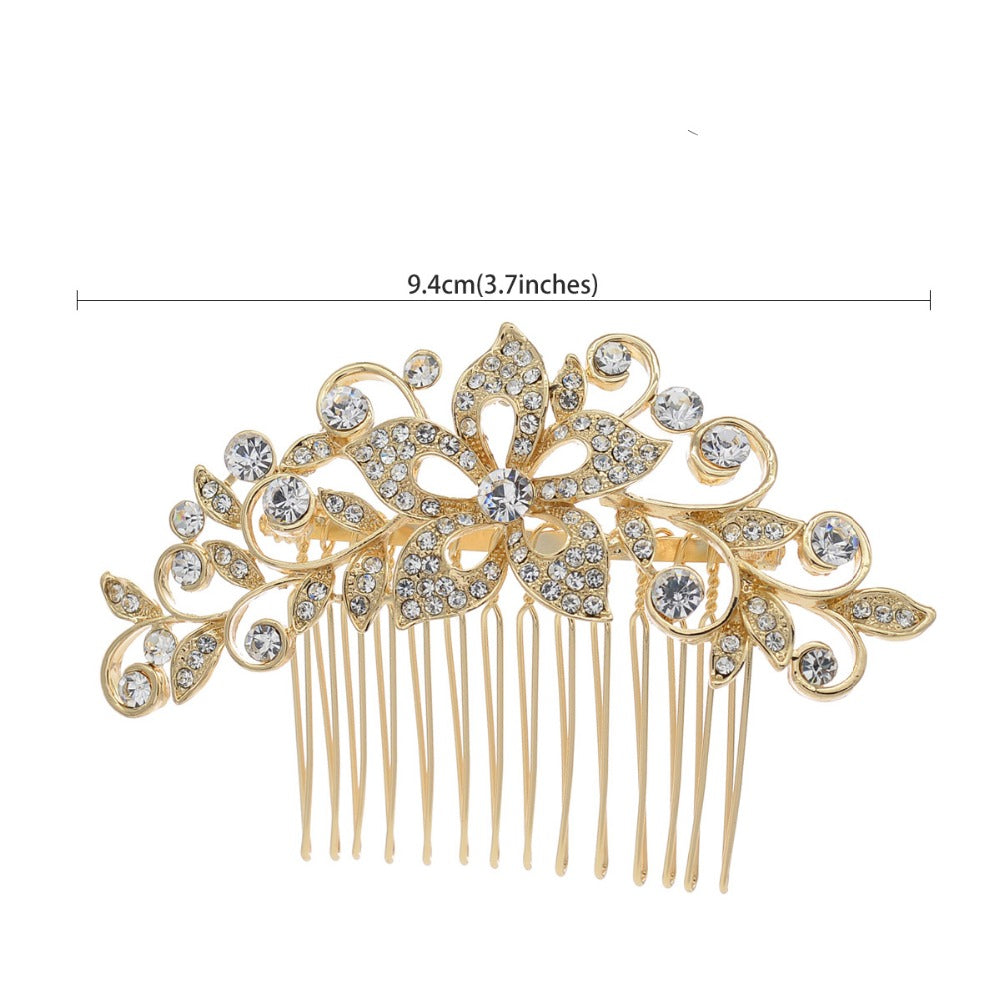 Vintage Flower Hair Comb Crystals Rhinestone Bridal Wedding Accessories CO2235R - sepbridals