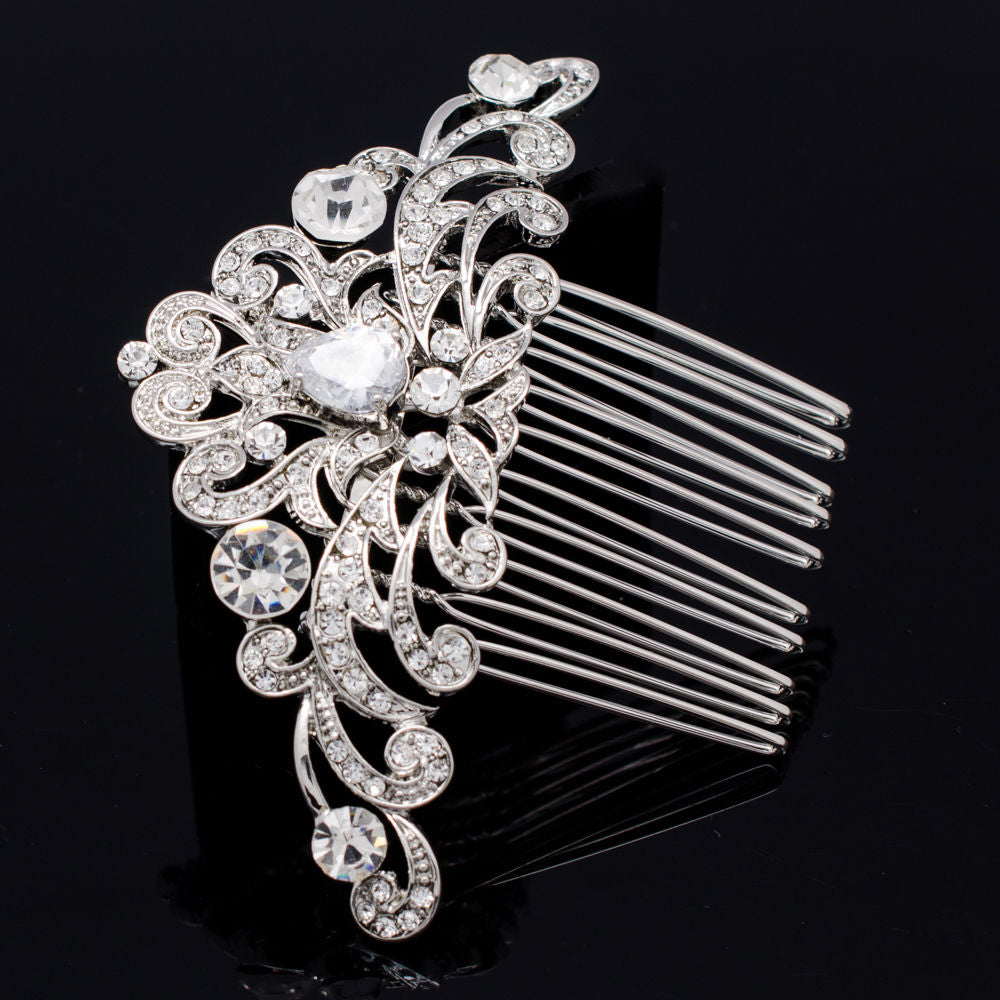 Rhinestone Crystal CZ Flower Hair Combs  CO1460R - sepbridals