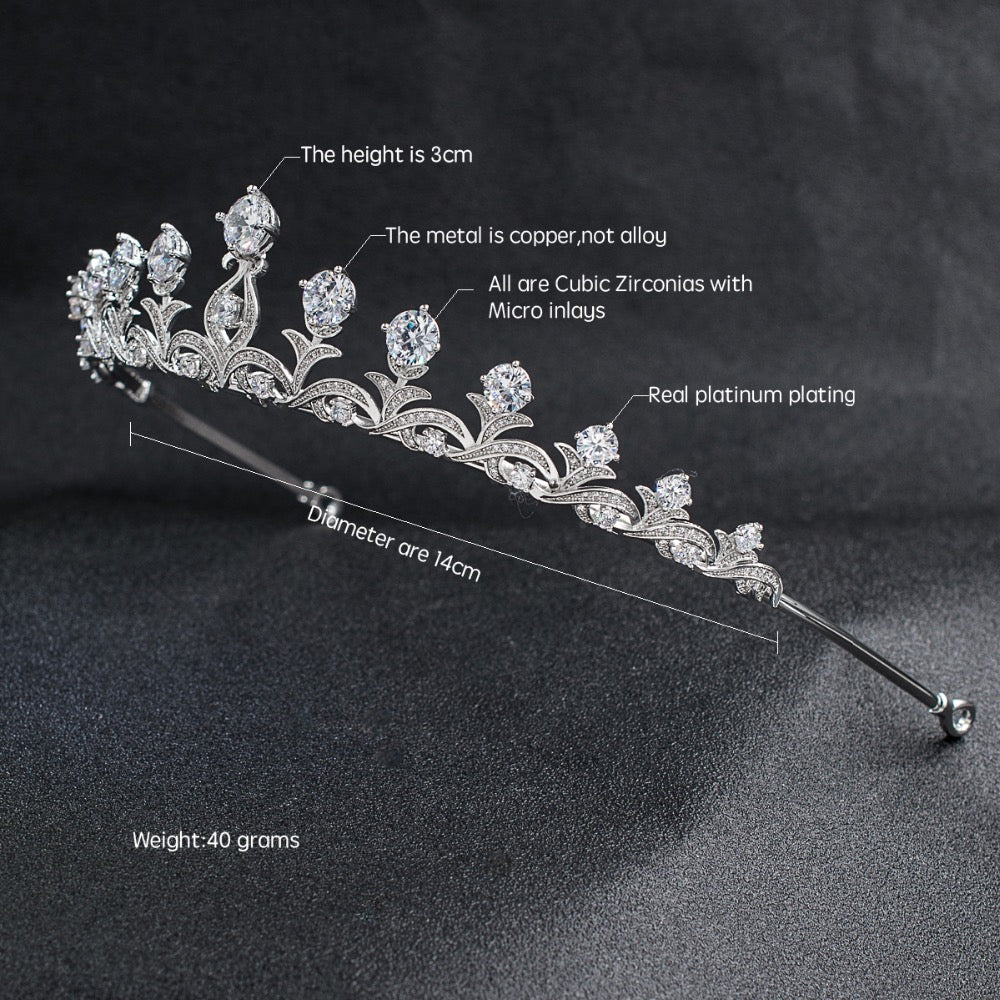 Cubic zircon wedding  bridal royal tiara diadem crown CH10030 - sepbridals