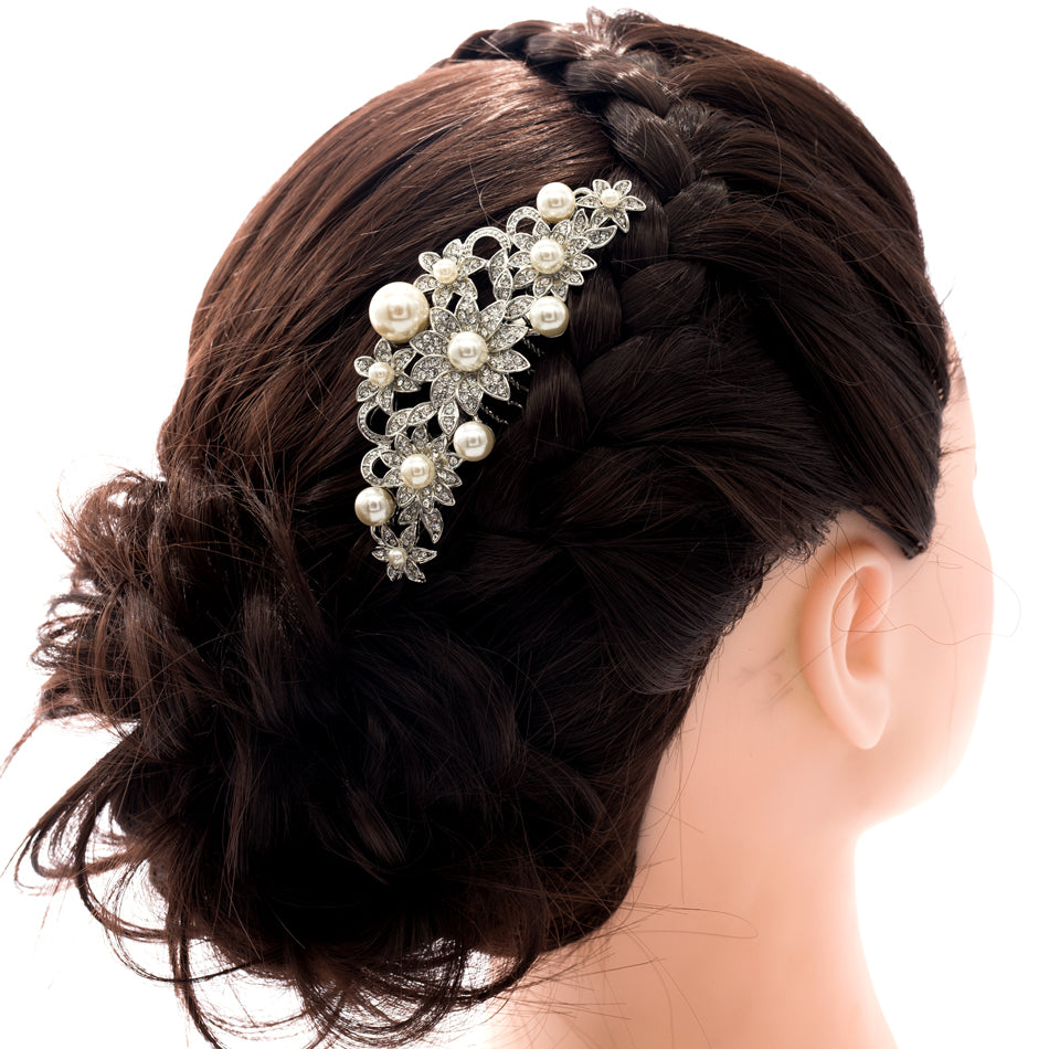 Rhinestone Crystal Wedding Bridal Flower Hairpins Hair Side Comb  CO1446R1 - sepbridals