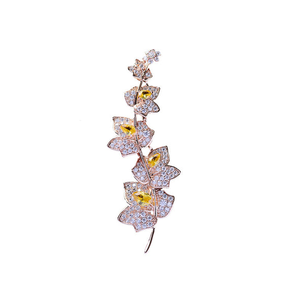 Fashion Cubic Zircon Micro Paved Elegant Maple Leaf Brooch   111