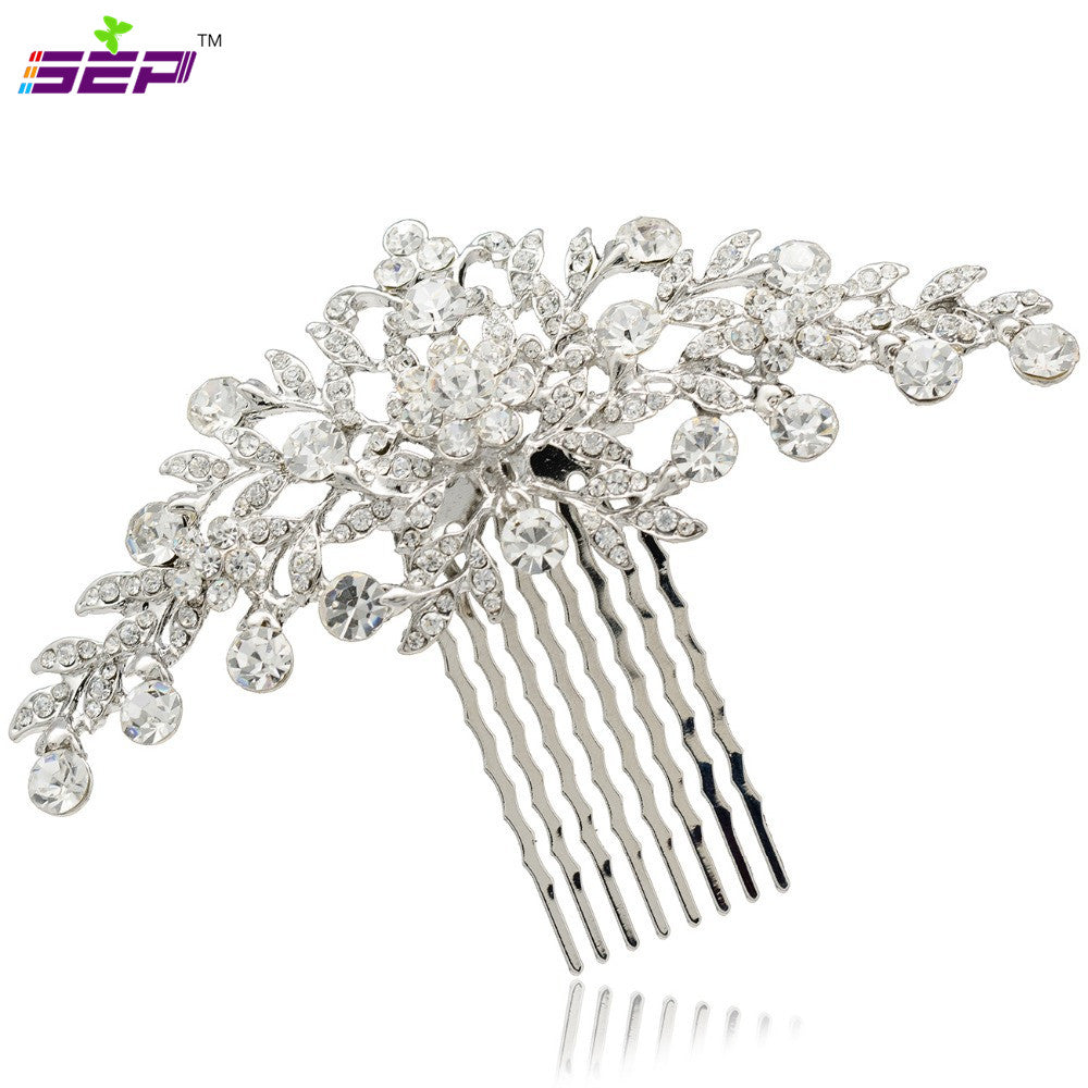 Wedding Bride Bridal Floral Veil Hair Comb Head Pieces Hair Pins FA2944 - sepbridals