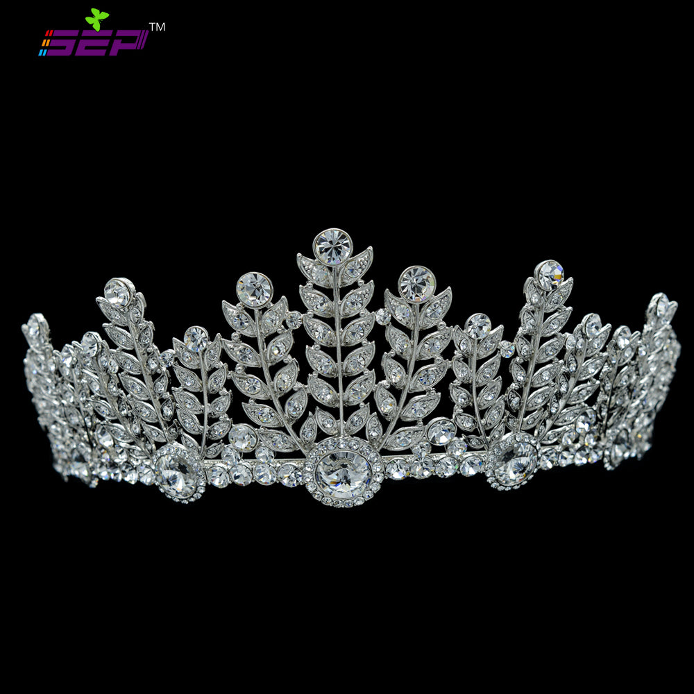 Real Austrian Crystal Flower Leaf Tiaras Crown SHA8673 - sepbridals