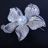 Fashion Cubic Zircon Wedding Jewelry Orchid Flower Brooch 0012167 - sepbridals