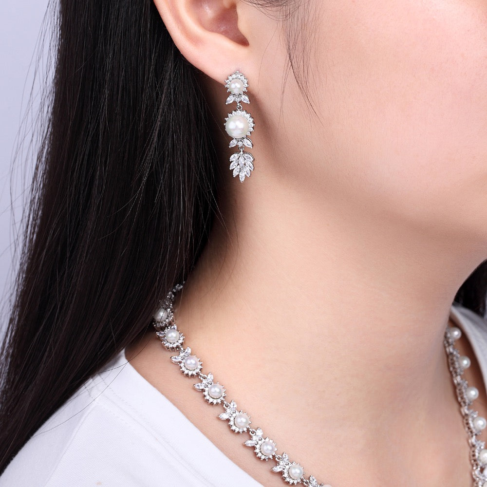 Cubic zirconia bride wedding necklace earring set top quality  CN10049 - sepbridals
