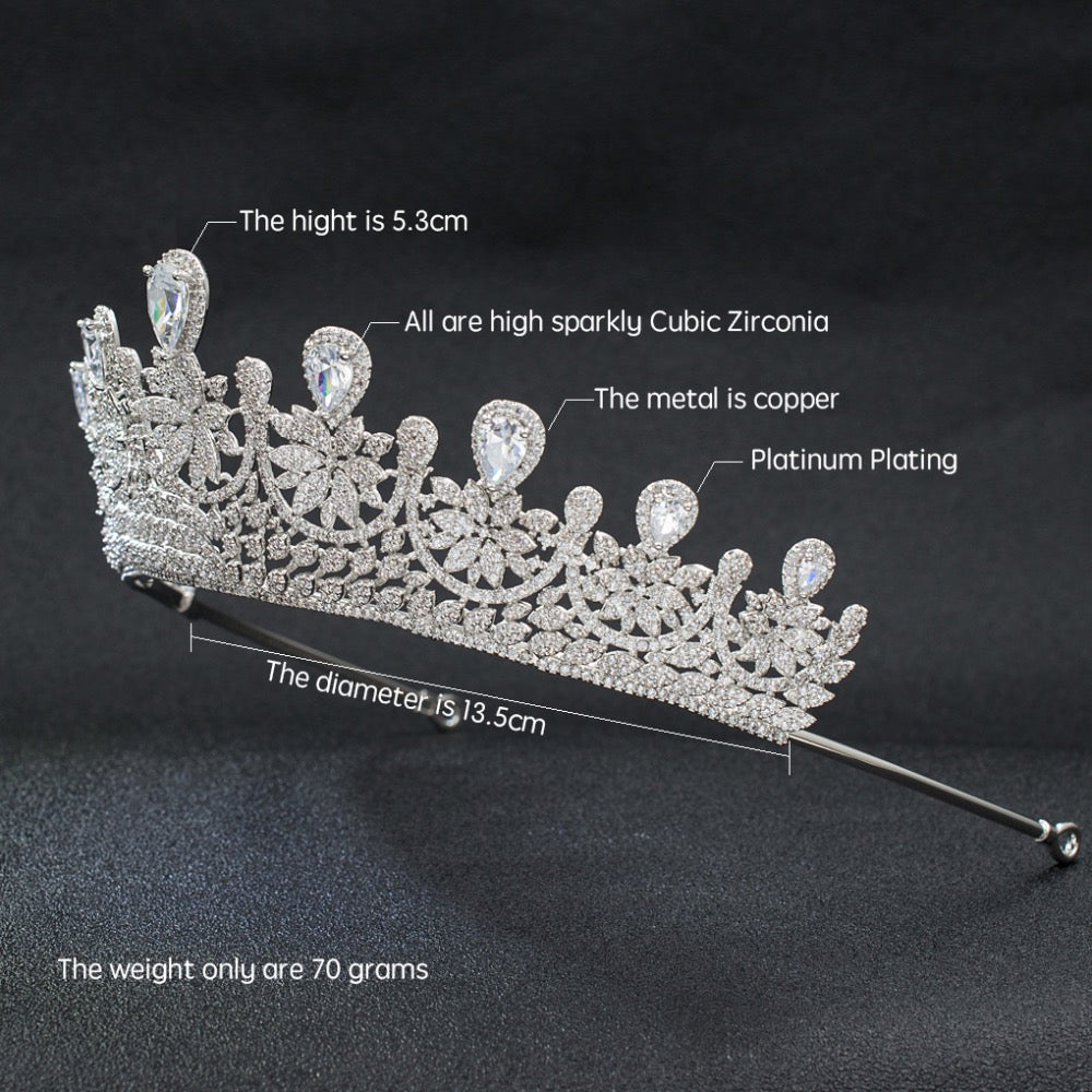 Cubic Zirconia Classic Wedding Bridal Royal Tiara Diadem Crown S00027T1 - sepbridals