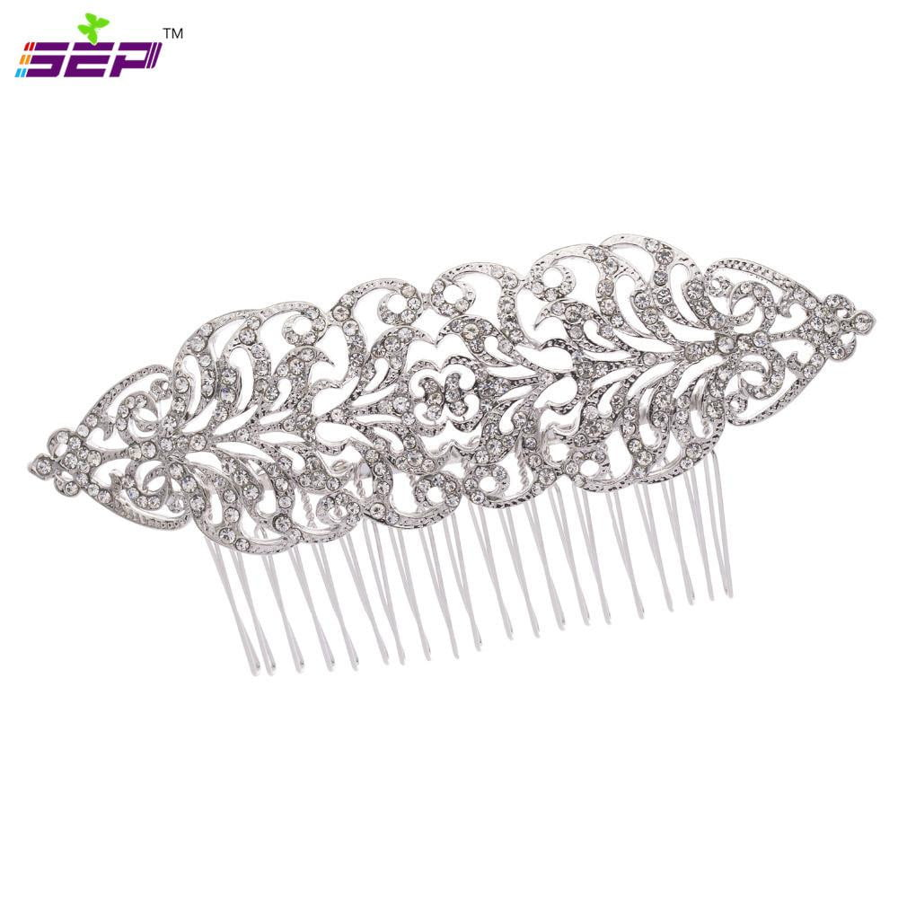 Bridal Wedding  Crystals Rhinestone Hairpins Long Flower Hair Combs XBY134 - sepbridals