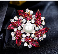 Luxury Jewelry Accessory Cubic Zircon Pearl Flower Brooch HB090 - sepbridals