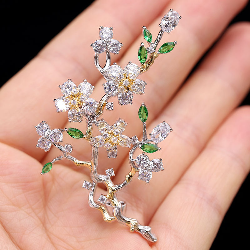 New elegant plum blossom flower cubic zirconia brooches HR04091 - sepbridals