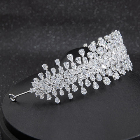Cubic zirconia bridal wedding soft headband hairband tiara CHA10002 - sepbridals