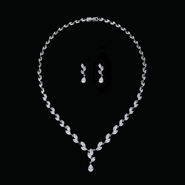 Cubic zirconia bride wedding necklace earring set top quality CN10132