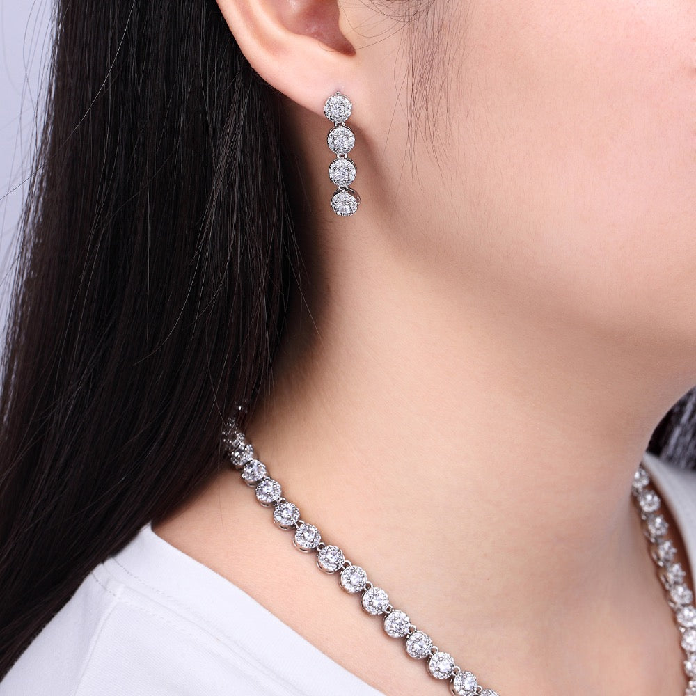 Cubic zirconia bride wedding necklace earring set top quality CN10090 - sepbridals