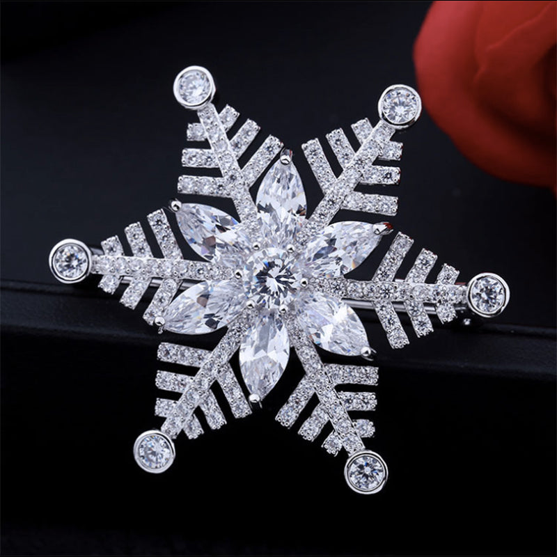 New High Quality CZ Cubic Zirconia Snowflake Brooch HR222 - sepbridals