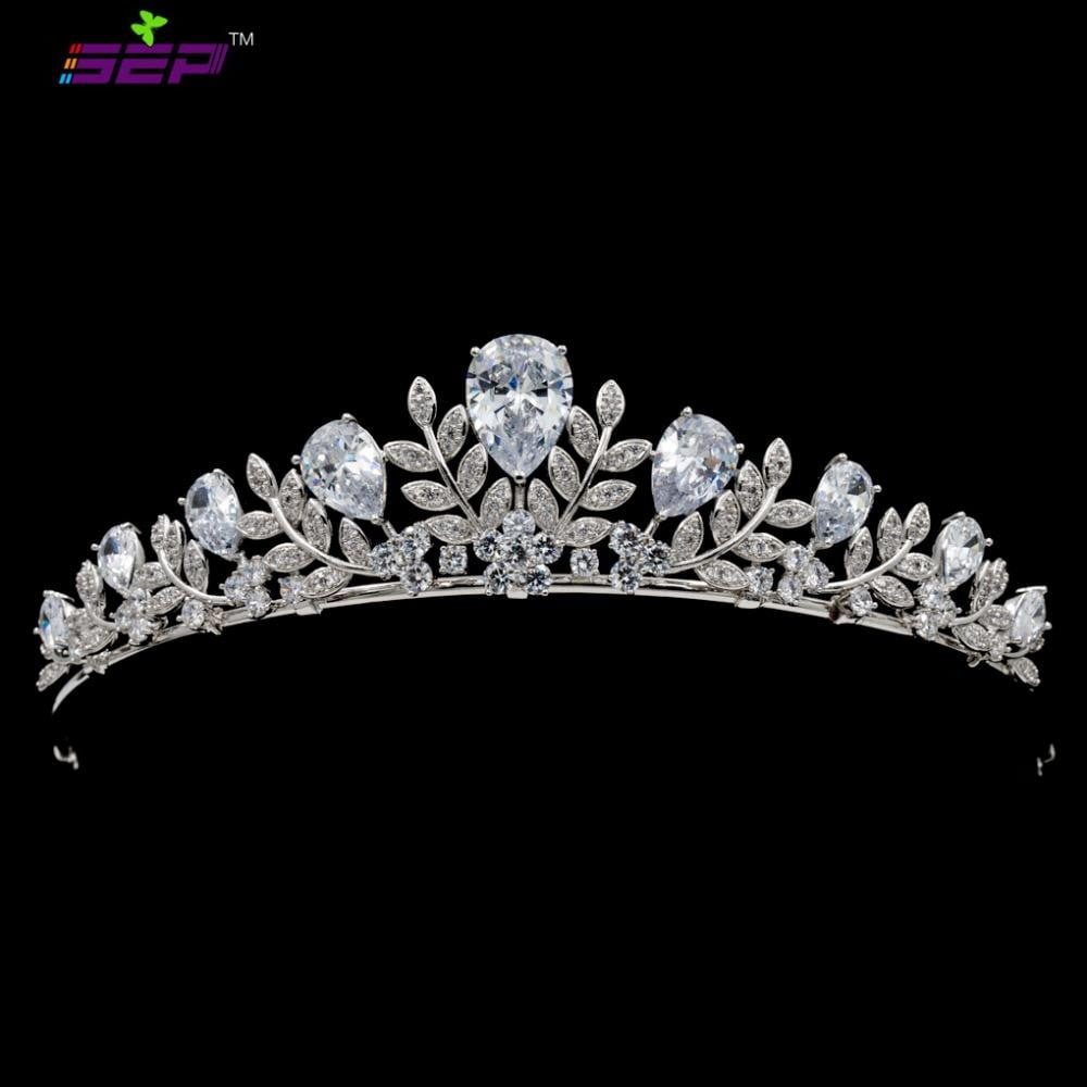 Cubic Zircon Wedding Bridal Royal Leaves Tiara Diadem Hair Jewelry CH10335 - sepbridals