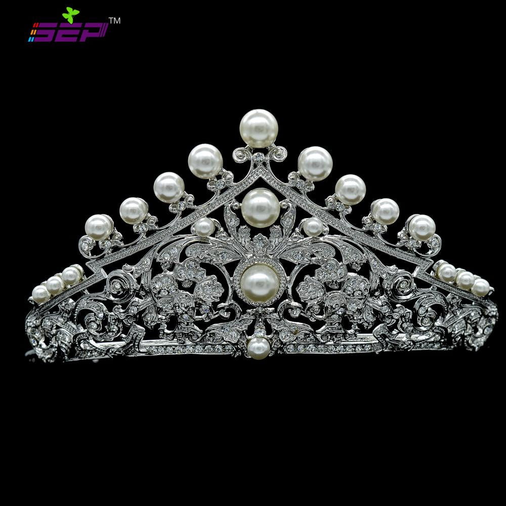 Rhinestone crystal pearl wedding bridal tiara hair jewelry 114001R1 - sepbridals