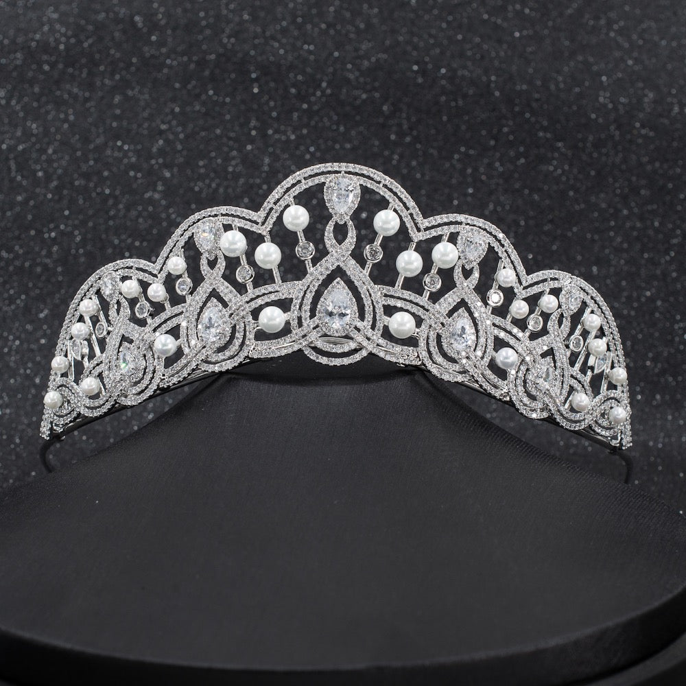Cubic zircon wedding  bridal royal tiara diadem crown CH10257 - sepbridals