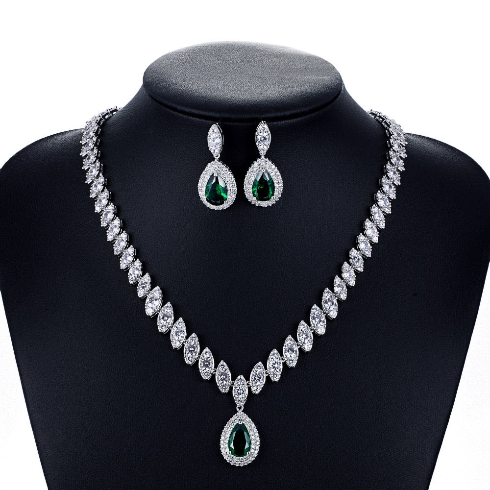 Cubic zirconia bride wedding necklace earring set top quality CN10001 - sepbridals
