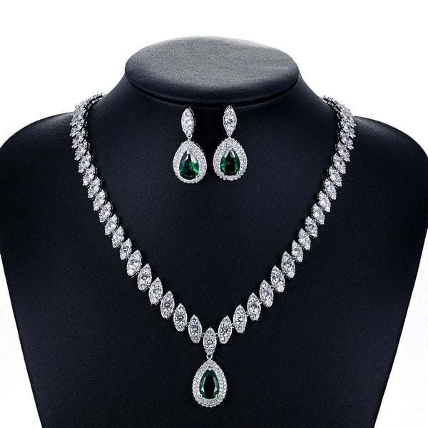 Cubic zirconia bride wedding necklace earring set top quality CN10001