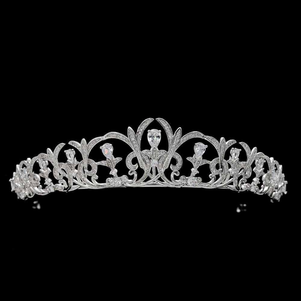 Cubic zirconia tiara diadem for wedding bridal hair jewelry CH10120 - sepbridals