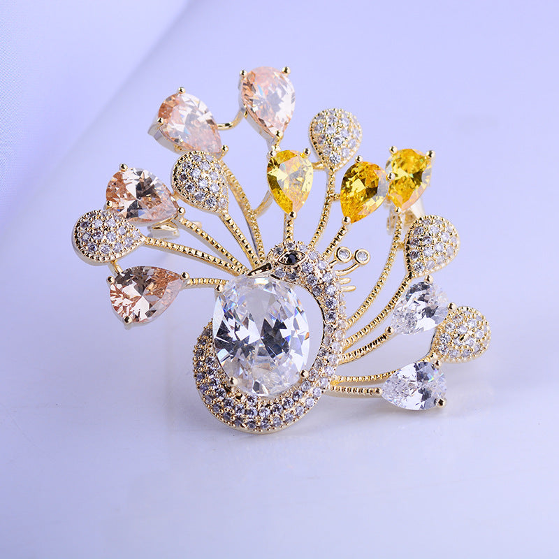 New Fashion Jewelry Accessory Cubic Zircon Animal Peacock Brooch Pin R04491 - sepbridals