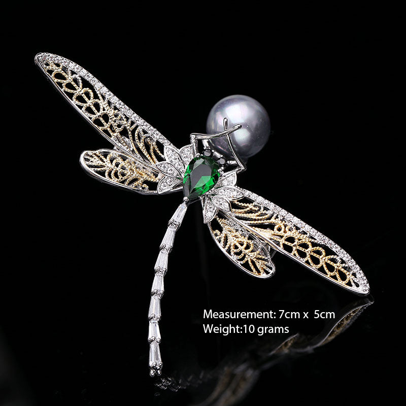 Pretty Crystal Cubic Zirconia Dragonfly Brooch Broach Pin HR04047 - sepbridals