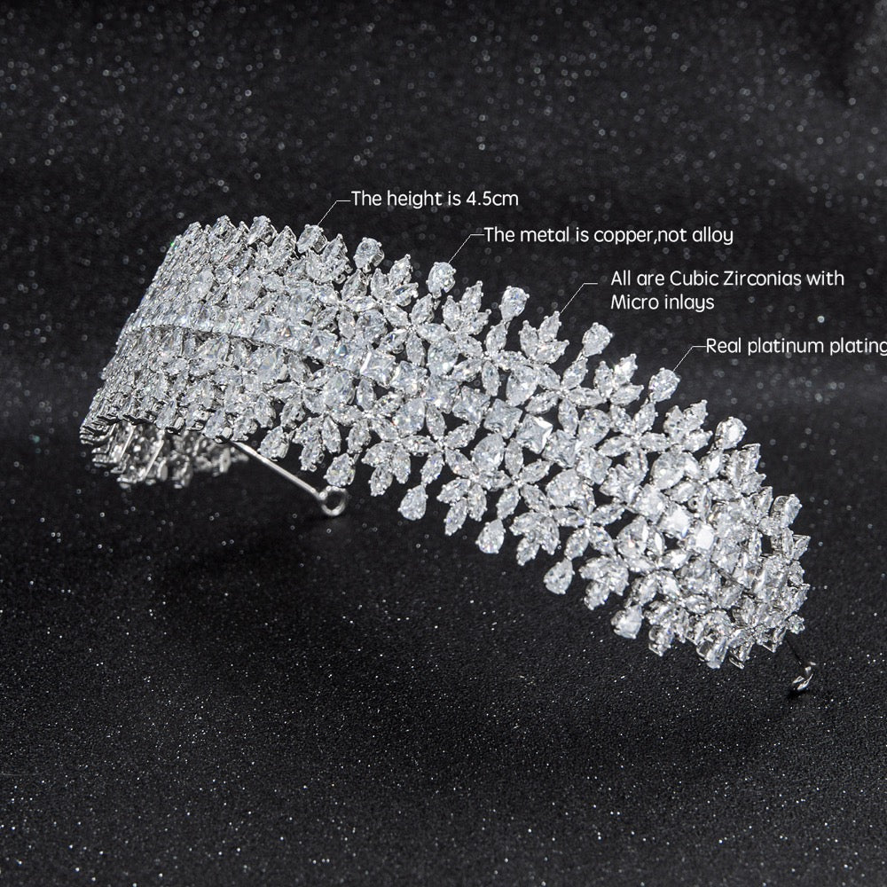 Cubic zirconia bridal wedding soft headband hairband tiara CHA10018 - sepbridals