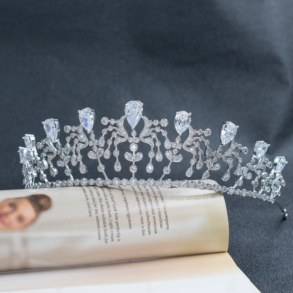 Cubic Zirconia Royal Wedding Bridal Silver Tiara Crown CH10081 - sepbridals