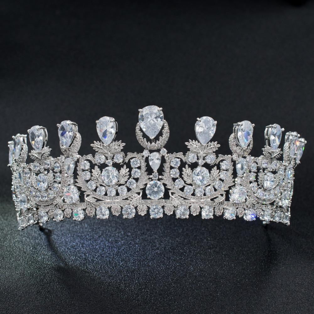 Classic Cubic Zirconia Big Royal Wedding Bridal Tiara Crown HG1162 - sepbridals